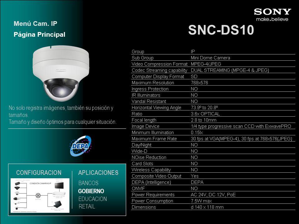SNC-DS10 Página Principal Menú Cam. IP EDUCACION GOBIERNO RETAIL APLICACIONES BANCOS CONFIGURACION No solo registra imágenes, también su posición y ta