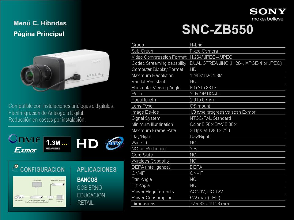 SNC-ZB550 HD 1. 3M … MEGAPIXELES BANCOS EDUCACION GOBIERNO RETAIL CONFIGURACION Compatible con instalaciones análogas o digitales.. Fácil migración de