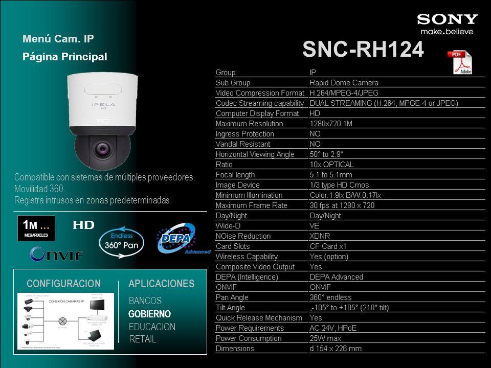 SNC-RH124 1 M … MEGAPIXELES HD Página Principal Menú Cam. IP EDUCACION GOBIERNO RETAIL APLICACIONES BANCOS CONFIGURACION Compatible con sistemas de mú