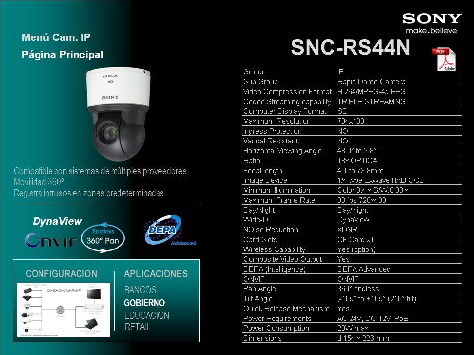 SNC-RS44N DynaView Página Principal Menú Cam. IP EDUCACION GOBIERNO RETAIL APLICACIONES BANCOS CONFIGURACION Compatible con sistemas de múltiples prov