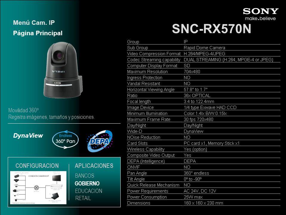 SNC-RX570N DynaView Página Principal Menú Cam. IP EDUCACION GOBIERNO RETAIL APLICACIONES BANCOS CONFIGURACION Movilidad 360º. Registra imágenes, tamañ