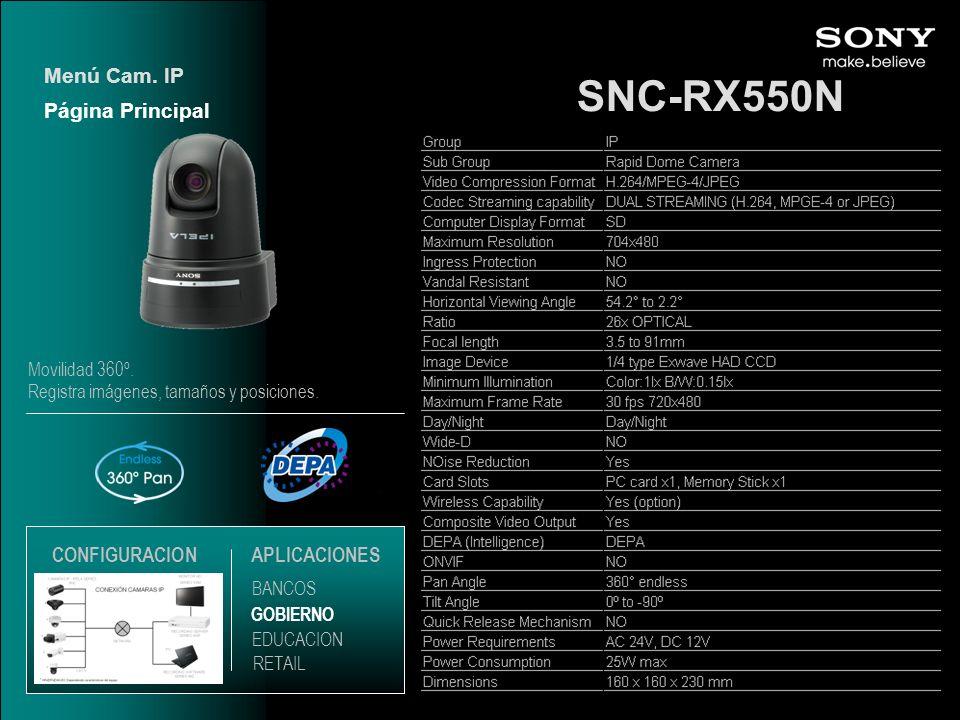 SNC-RX550N Página Principal Menú Cam. IP EDUCACION GOBIERNO RETAIL APLICACIONES BANCOS CONFIGURACION Movilidad 360º. Registra imágenes, tamaños y posi