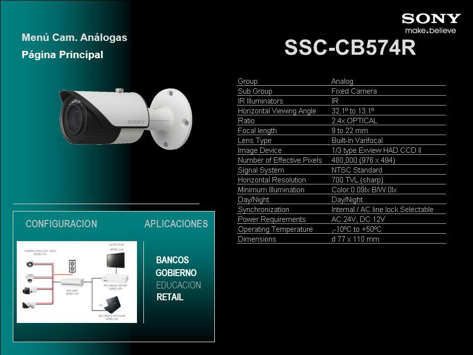 SSC-CB574R Menú Cam. Análogas Página Principal EDUCACION GOBIERNO RETAIL APLICACIONES BANCOS CONFIGURACION