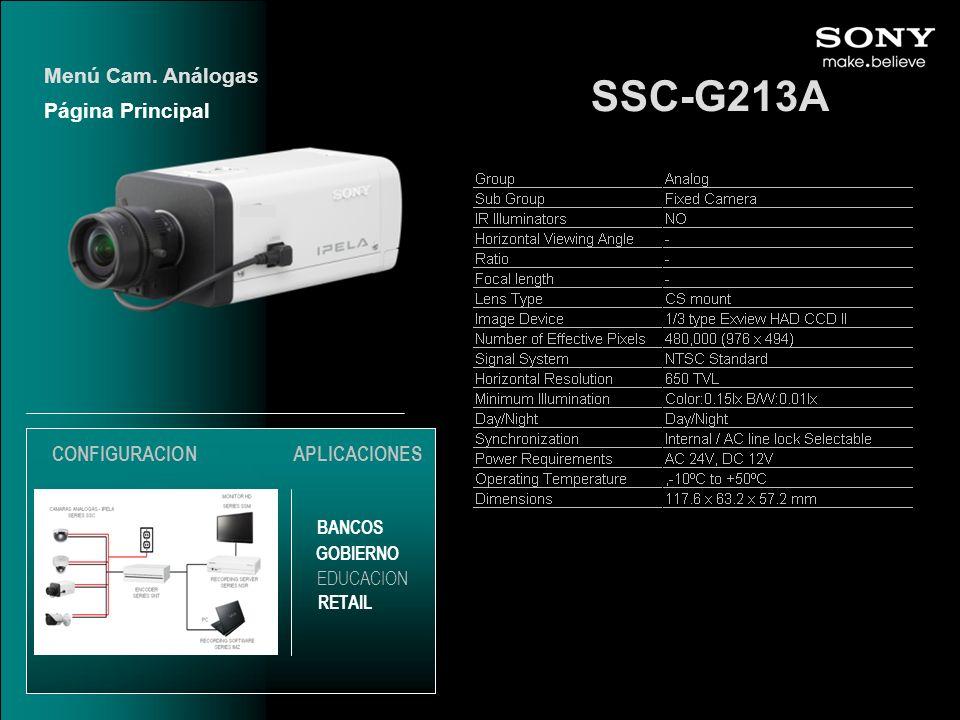 SSC-G213A Página Principal Menú Cam. Análogas EDUCACION GOBIERNO RETAIL APLICACIONES BANCOS CONFIGURACION