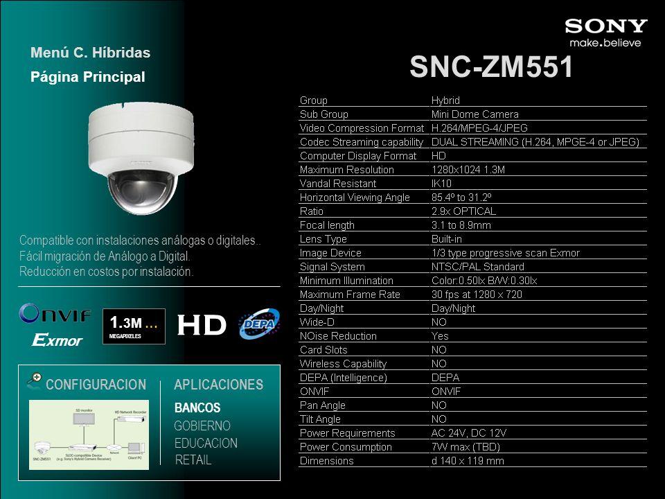 SNC-ZM551 Menú C. Híbridas HD 1. 3M … MEGAPIXELES E xmor CONFIGURACIONAPLICACIONES Página Principal EDUCACION GOBIERNO RETAIL BANCOS Compatible con in