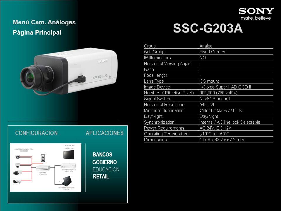 SSC-G203A Página Principal Menú Cam. Análogas EDUCACION GOBIERNO RETAIL APLICACIONES BANCOS CONFIGURACION