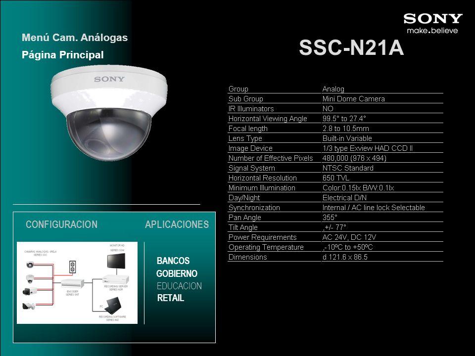 SSC-N21A Página Principal Menú Cam. Análogas EDUCACION GOBIERNO RETAIL APLICACIONES BANCOS CONFIGURACION