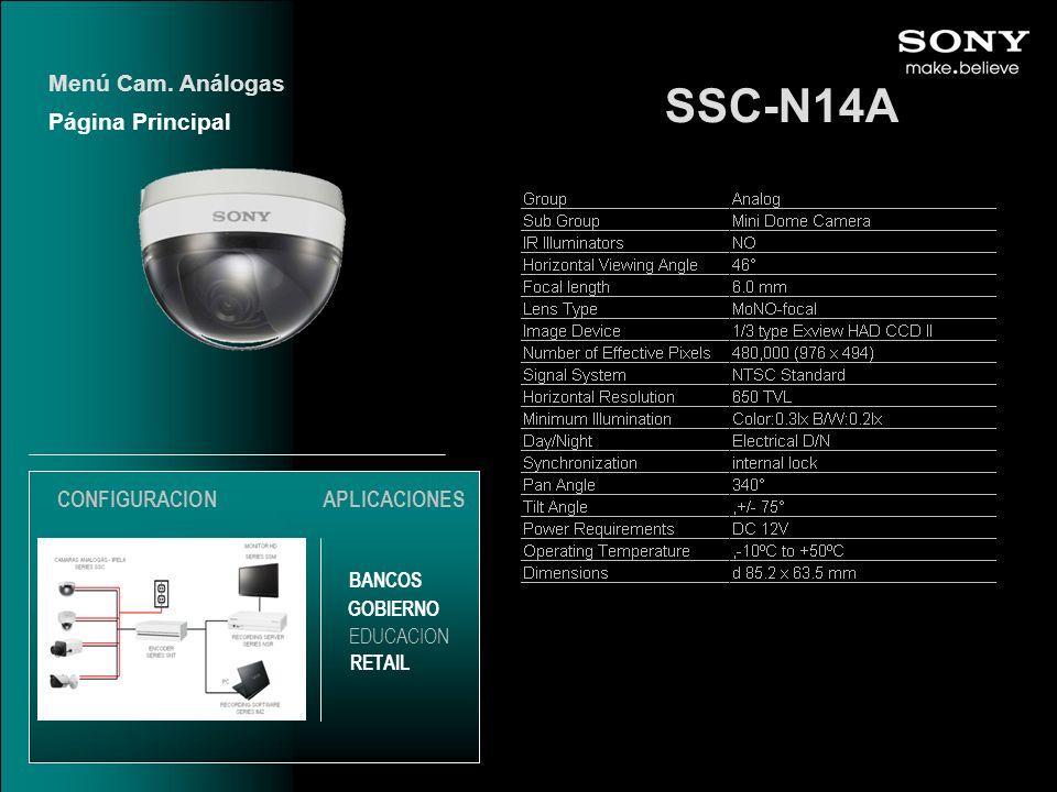 SSC-N14A Página Principal Menú Cam. Análogas EDUCACION GOBIERNO RETAIL APLICACIONES BANCOS CONFIGURACION