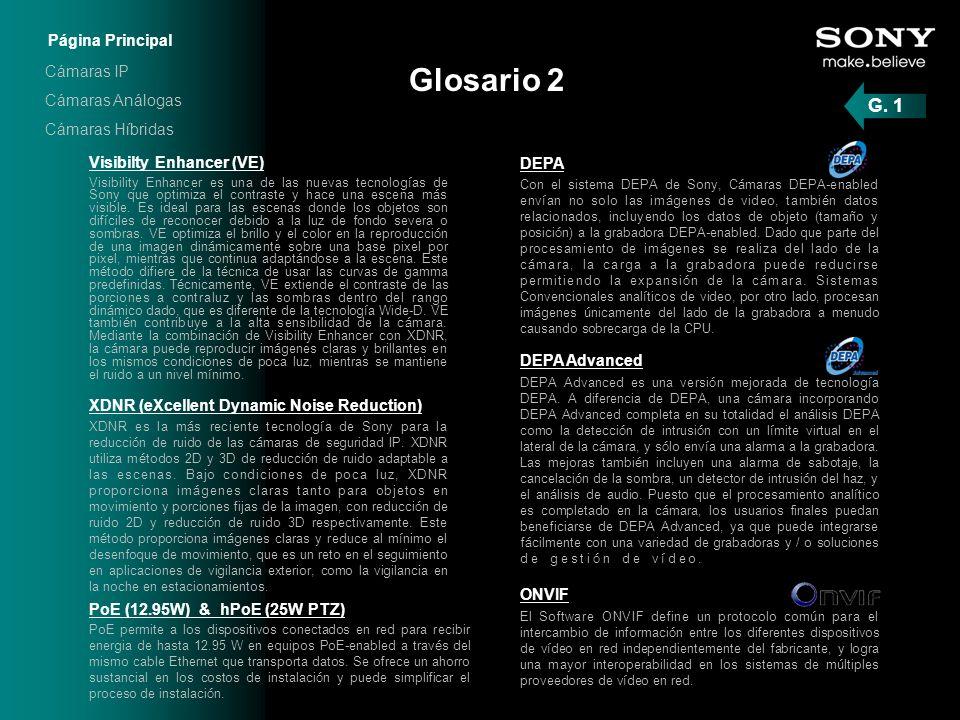 Glosario 2 Visibilty Enhancer (VE) Visibility Enhancer es una de las nuevas tecnologías de Sony que optimiza el contraste y hace una escena más visibl