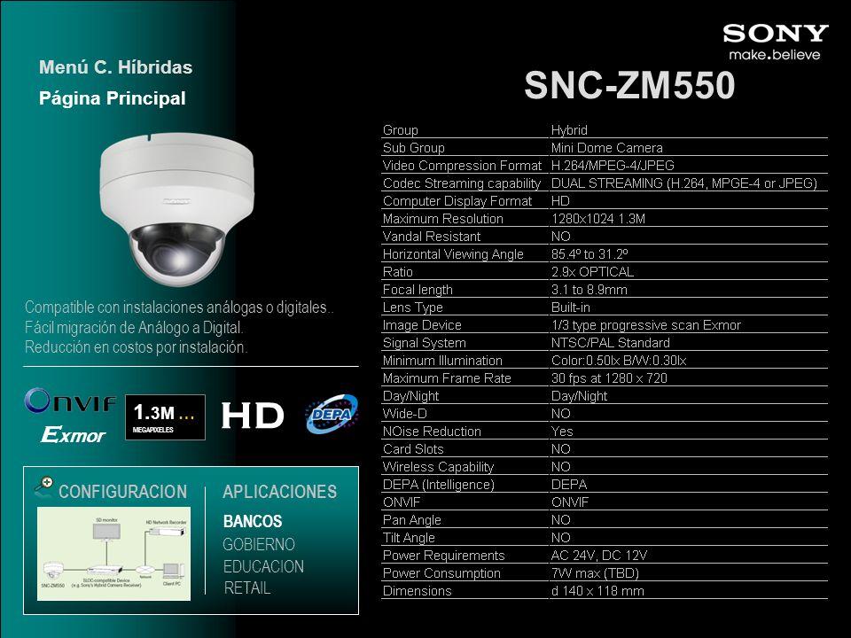 SNC-ZM550 Menú C. Híbridas HD 1. 3M … MEGAPIXELES E xmor CONFIGURACIONAPLICACIONES Página Principal EDUCACION GOBIERNO RETAIL BANCOS Compatible con in
