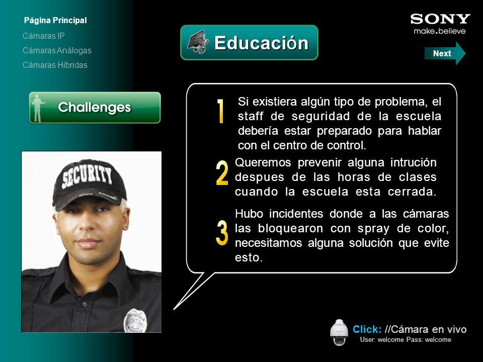 Educación Educación Click: //Cámara en vivo User: welcome Pass: welcome Hubo incidentes donde a las cámaras las bloquearon con spray de color, necesit