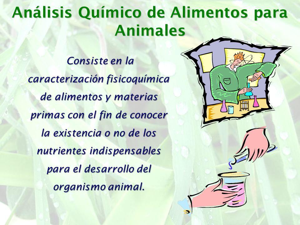 Análisis Químico de Alimentos para Animales Consiste en la caracterización fisicoquímica de alimentos y materias primas con el fin de conocer la exist