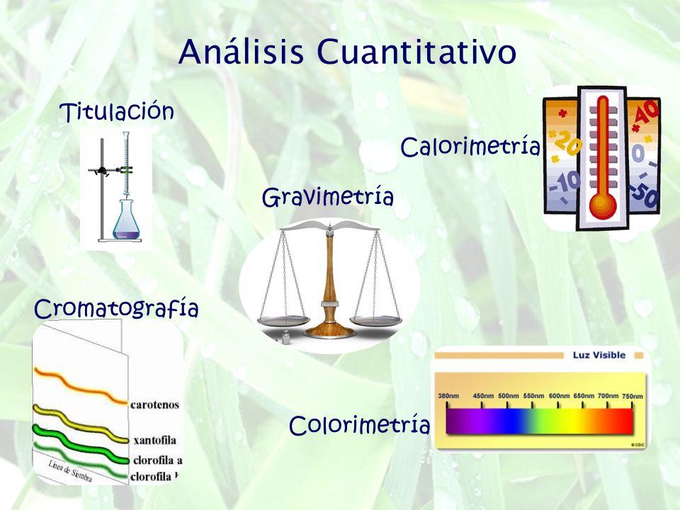 Análisis Cuantitativo Titulación Colorimetría Gravimetría Calorimetría Cromatografía