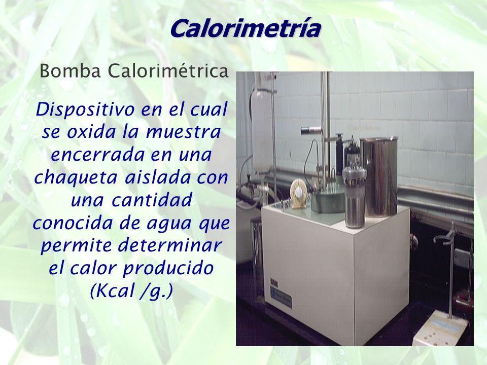 Calorimetría Dispositivo en el cual se oxida la muestra encerrada en una chaqueta aislada con una cantidad conocida de agua que permite determinar el