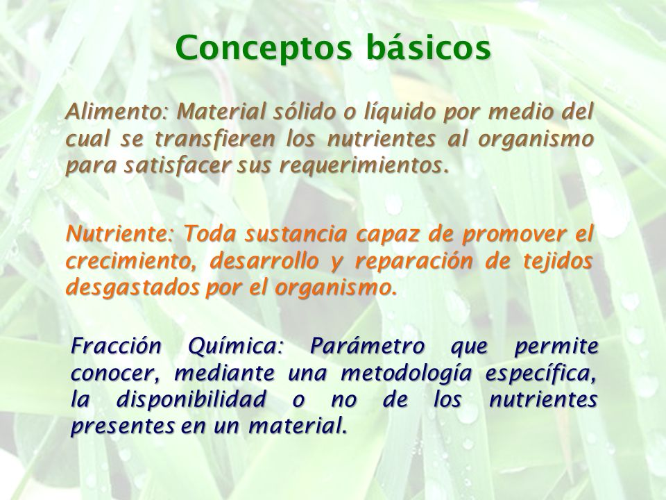 Conceptos básicos Alimento: Material sólido o líquido por medio del cual se transfieren los nutrientes al organismo para satisfacer sus requerimientos