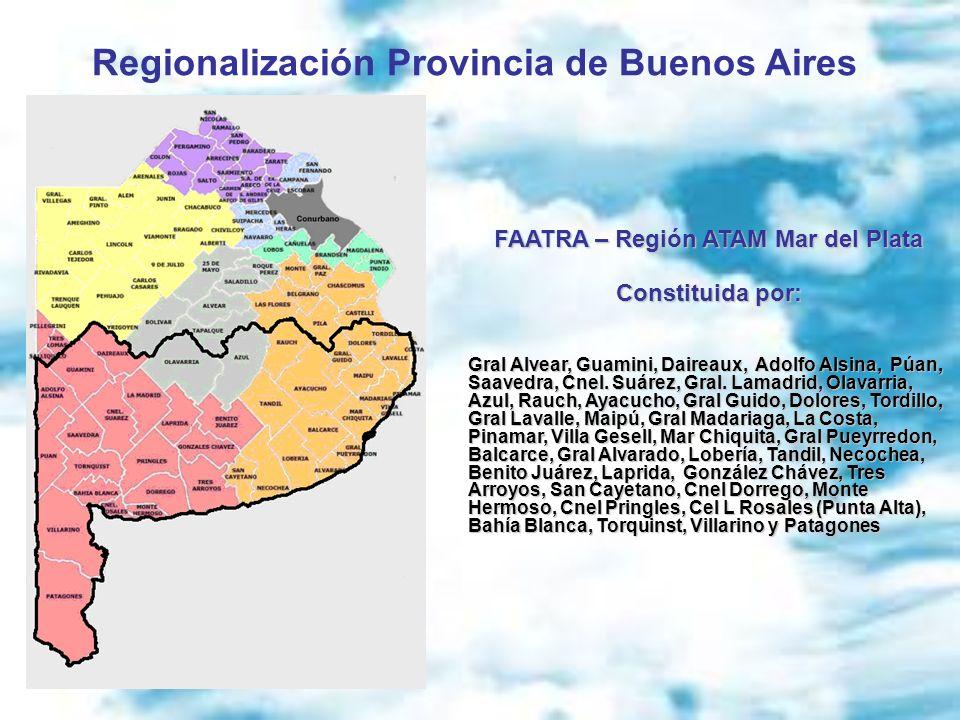 Regionalización Provincia de Buenos Aires FAATRA – Región ATAM Mar del Plata Constituida por: Gral Alvear, Guamini, Daireaux, Adolfo Alsina, Púan, Saa