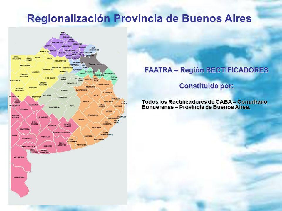 Regionalización Provincia de Buenos Aires FAATRA – Región RECTIFICADORES Constituida por: Todos los Rectificadores de CABA – Conurbano Bonaerense – Pr