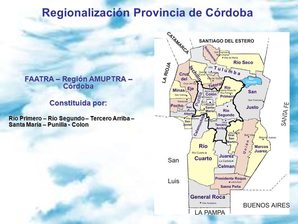 Regionalización Provincia de Córdoba FAATRA – Región AMUPTRA – Córdoba Constituida por: Río Primero – Río Segundo – Tercero Arriba – Santa María – Pun