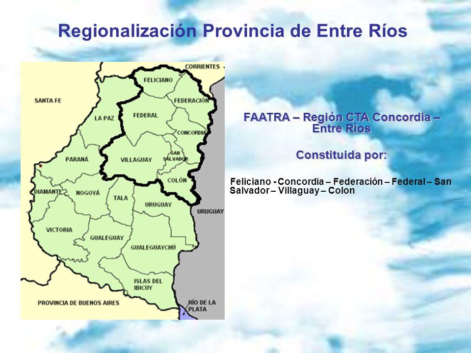 Regionalización Provincia de Entre Ríos FAATRA – Región CTA Concordia – Entre Ríos Constituida por: Feliciano - Concordia – Federación – Federal – San