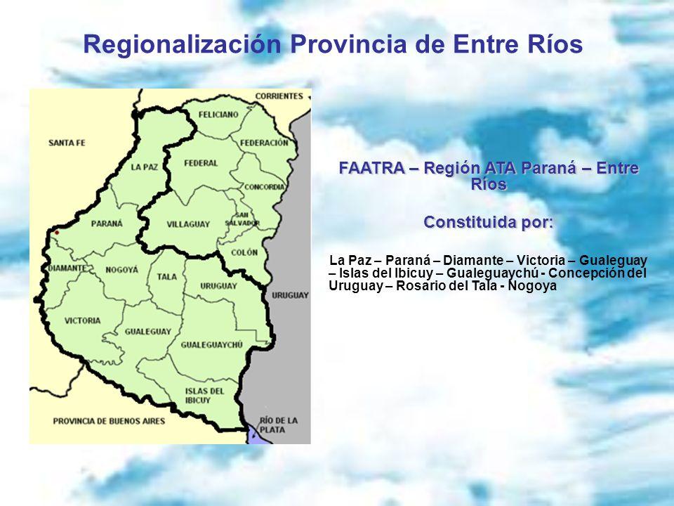 Regionalización Provincia de Entre Ríos FAATRA – Región ATA Paraná – Entre Ríos Constituida por: La Paz – Paraná – Diamante – Victoria – Gualeguay – I