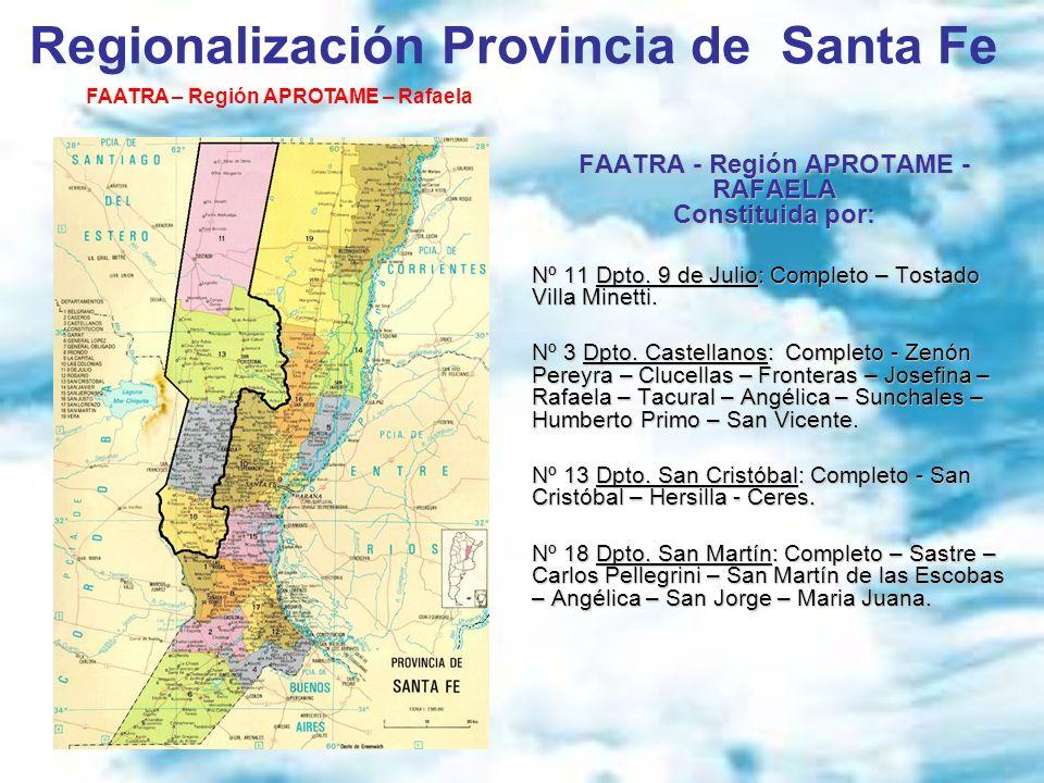 FAATRA - Región APROTAME - RAFAELA Constituida por: Nº 11 Dpto. 9 de Julio: Completo – Tostado Villa Minetti. Nº 3 Dpto. Castellanos: Completo - Zenón