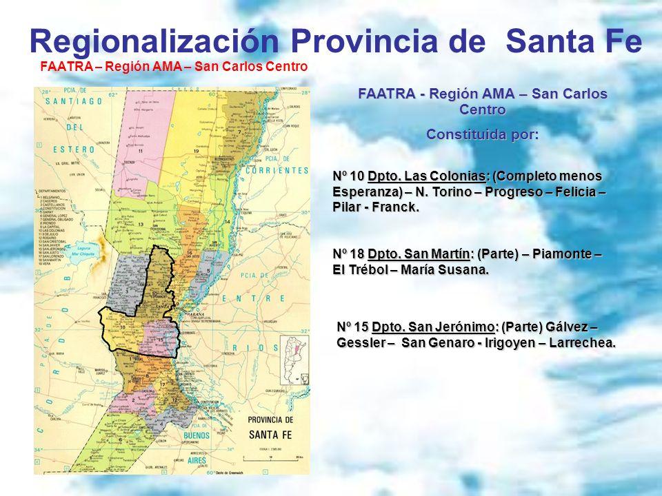 Regionalización Provincia de Santa Fe FAATRA – Región AMA – San Carlos Centro FAATRA - Región AMA – San Carlos Centro Constituida por: Nº 10 Dpto. Las