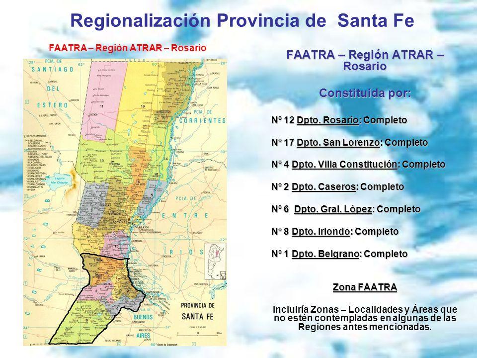 FAATRA – Región ATRAR – Rosario Constituida por: Nº 12 Dpto. Rosario: Completo Nº 17 Dpto. San Lorenzo: Completo Nº 4 Dpto. Villa Constitución: Comple