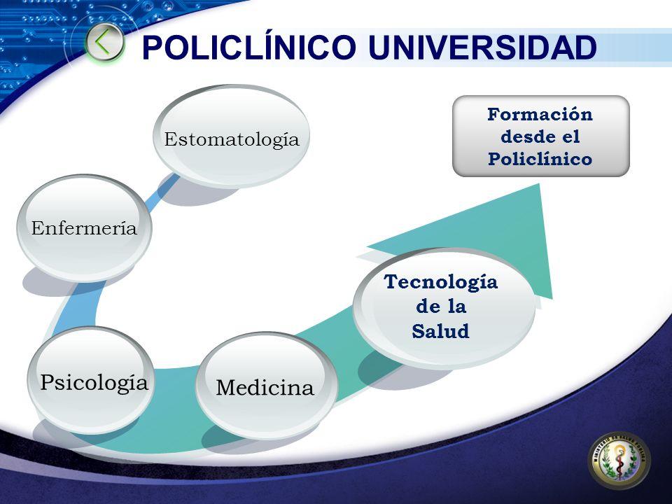 POLICLÍNICO UNIVERSIDAD Medicina Psicología Enfermería Estomatología Tecnología de la Salud Formación desde el Policlínico