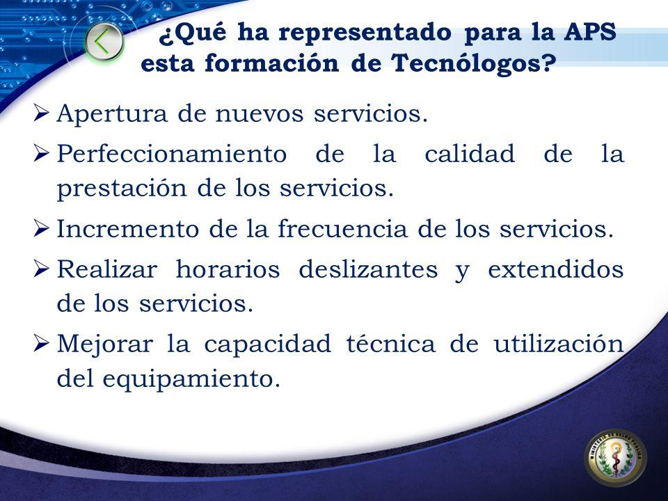 ¿Qué ha representado para la APS esta formación de Tecnólogos? Apertura de nuevos servicios. Perfeccionamiento de la calidad de la prestación de los s