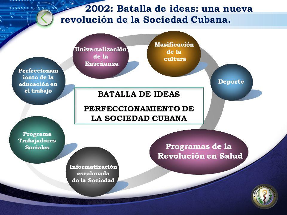 2002: Batalla de ideas: una nueva revolución de la Sociedad Cubana. Perfeccionam iento de la educación en el trabajo Masificación de la cultura Progra