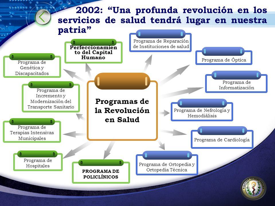 Programas de la Revolución en Salud Perfeccionamien to del Capital Humano Programa de Hospitales Programa de Genética y Discapacitados Programa de Inc