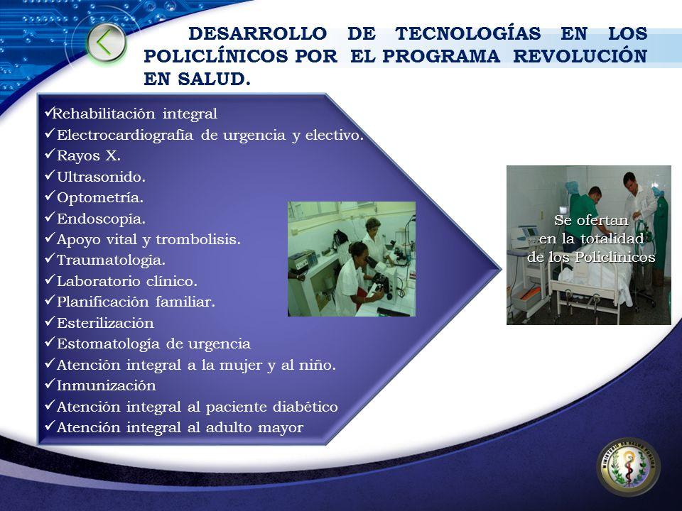DESARROLLO DE TECNOLOGÍAS EN LOS POLICLÍNICOS POR EL PROGRAMA REVOLUCIÓN EN SALUD. Rehabilitación integral Electrocardiografía de urgencia y electivo.