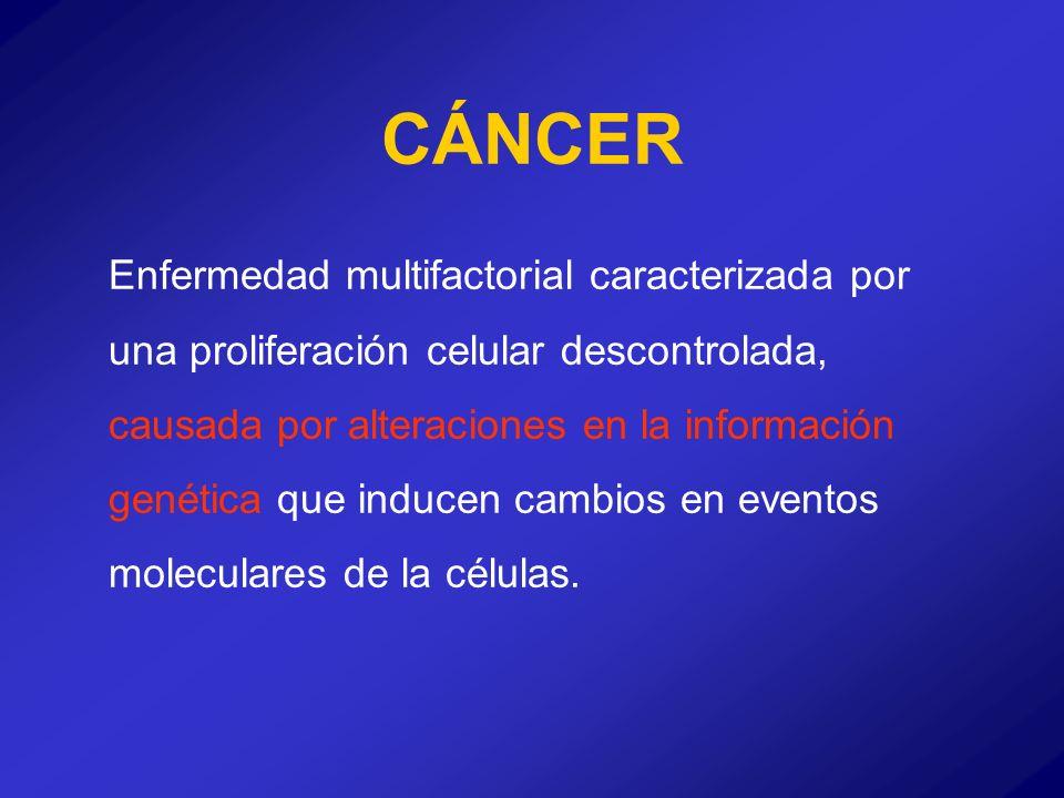 Enfermedad multifactorial caracterizada por una proliferación celular descontrolada, causada por alteraciones en la información genética que inducen c