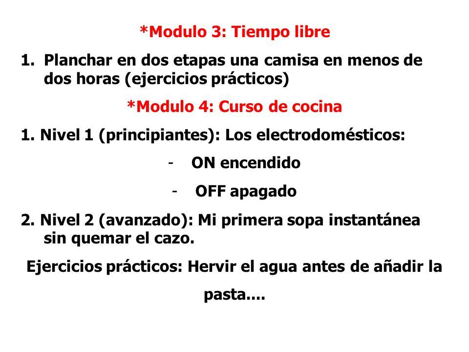 *Modulo 3: Tiempo libre 1.Planchar en dos etapas una camisa en menos de dos horas (ejercicios prácticos) *Modulo 4: Curso de cocina 1. Nivel 1 (princi