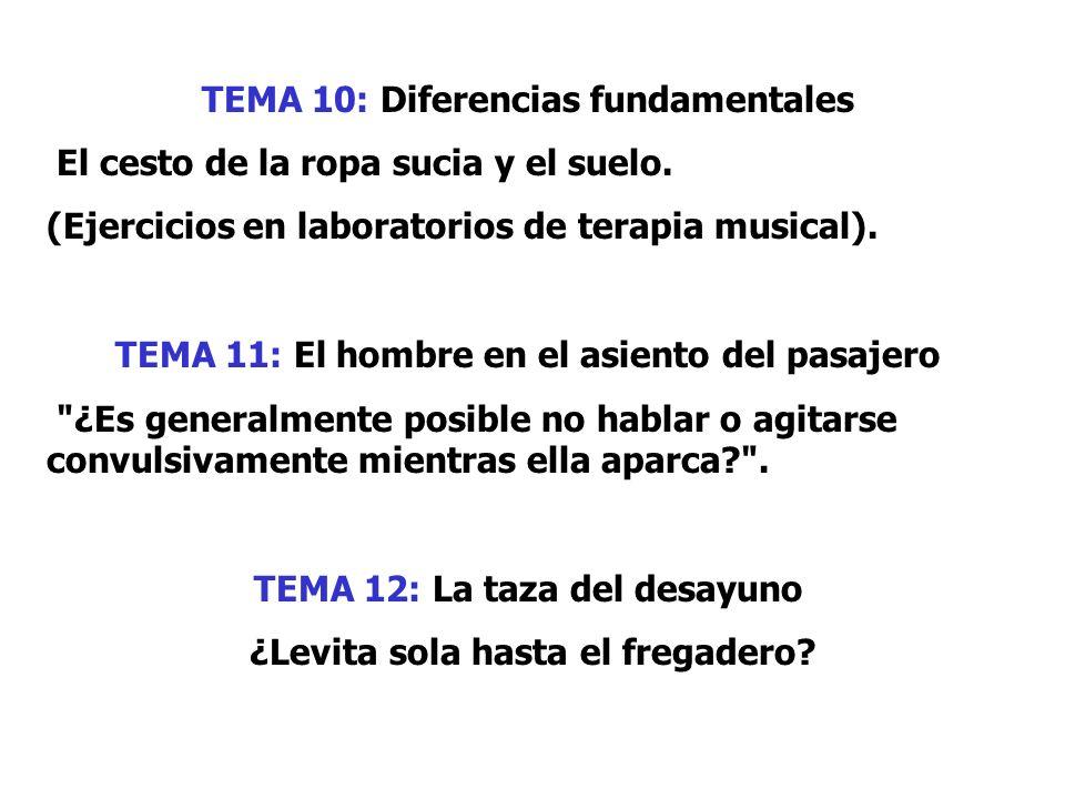TEMA 10: Diferencias fundamentales El cesto de la ropa sucia y el suelo. (Ejercicios en laboratorios de terapia musical). TEMA 11: El hombre en el asi