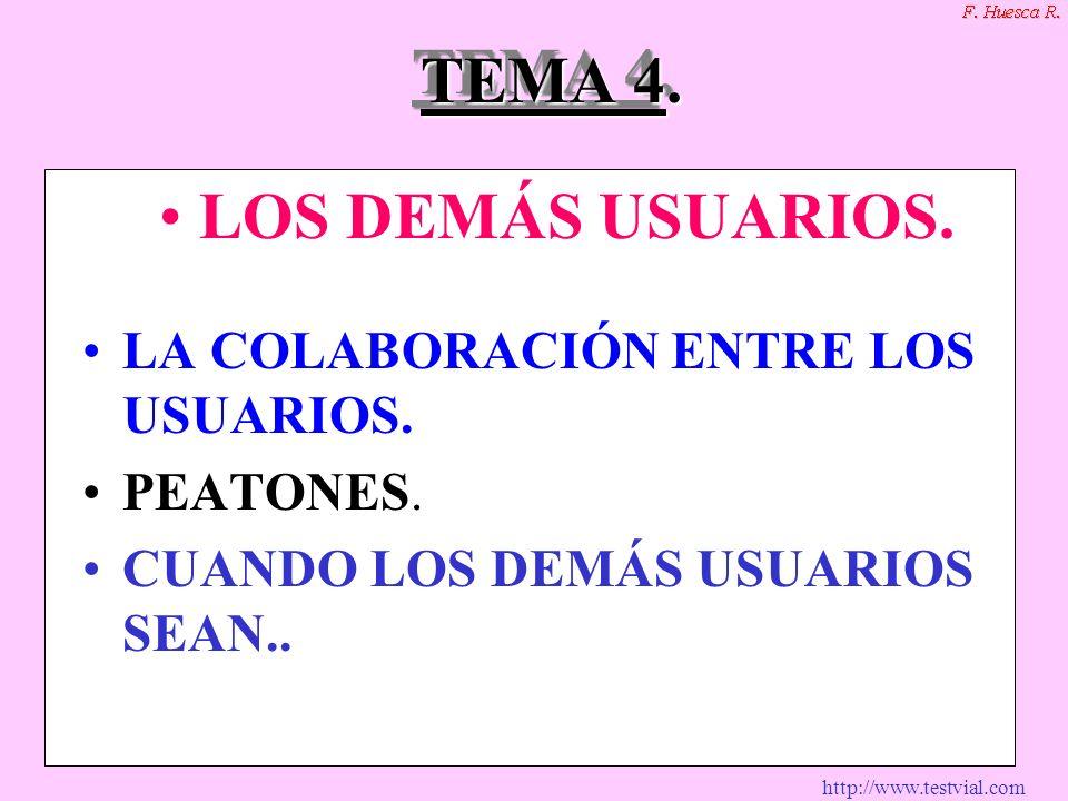 http://www.testvial.com TEMA 4. TEMA 4.4.4.4. LOS DEMÁS USUARIOS. LA COLABORACIÓN ENTRE LOS USUARIOS. PEATONES. CUANDO LOS DEMÁS USUARIOS SEAN..
