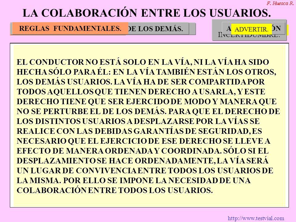 http://www.testvial.com REGLAS FUNDAMENTALES. NO MOLESTARNO SORPRENDERADVERTIR.COMPRENDER. PREVER LOS MOVIMIENTOS DE LOS DEMÁS. LA ZONA DE INCERTIDUMB