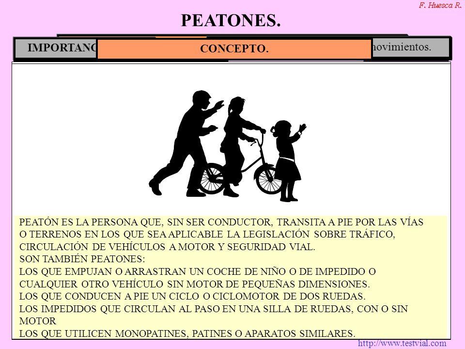 http://www.testvial.com CONCEPTO. Niños.Minusválidos.Personas de avanzada edad Personas que trabajan en la vía pública. En poblado. CIRCULACIÓN DE PEA
