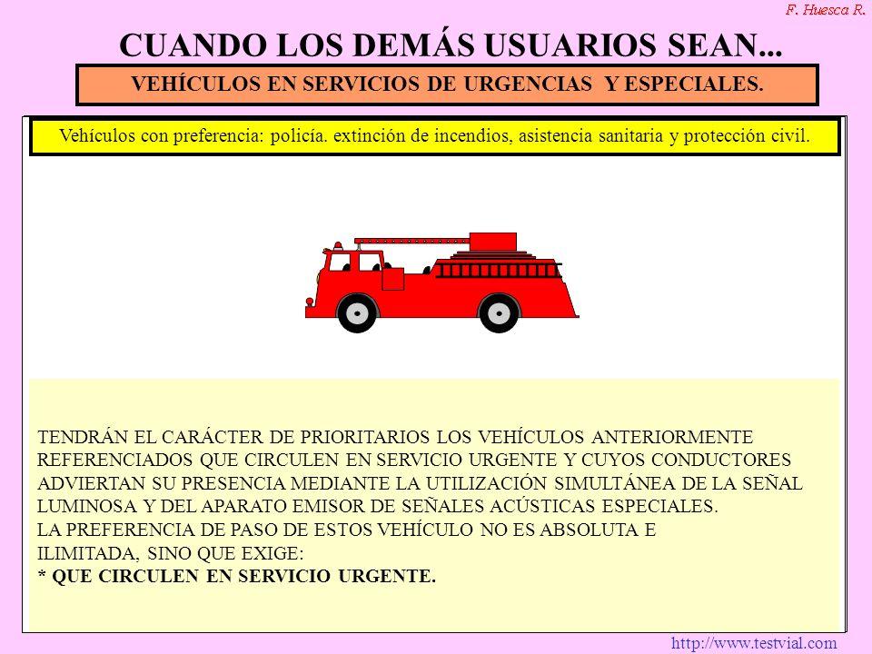 http://www.testvial.com VEHÍCULOS EN SERVICIOS DE URGENCIAS Y ESPECIALES. Vehículos con preferencia: policía. extinción de incendios, asistencia sanit