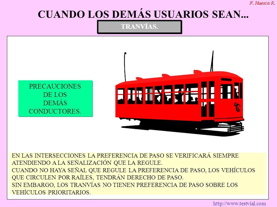 http://www.testvial.com TRANVÍAS. SEÑALES ESPECIFICAS PRECAUCIONES DE SUS CONDUCTORES. PRECAUCIONES DE LOS DEMÁS CONDUCTORES. TRANVÍAS. CUANDO LOS DEM