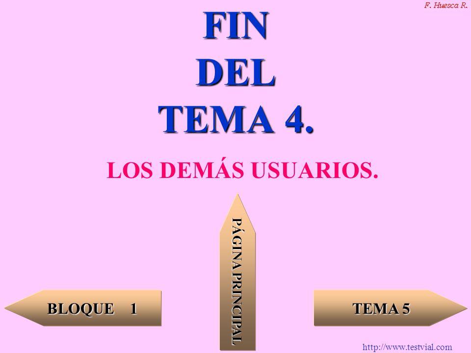 http://www.testvial.com TEMA 5 TEMA 5 BLOQUE 1 BLOQUE 1 PÁGINA PRINCIPAL PÁGINA PRINCIPAL FIN DEL TEMA 4. LOS DEMÁS USUARIOS.