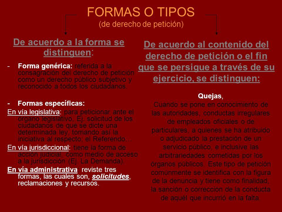 FORMAS O TIPOS (de derecho de petición) -Forma genérica: referida a la consagración del derecho de petición como un derecho público subjetivo y recono