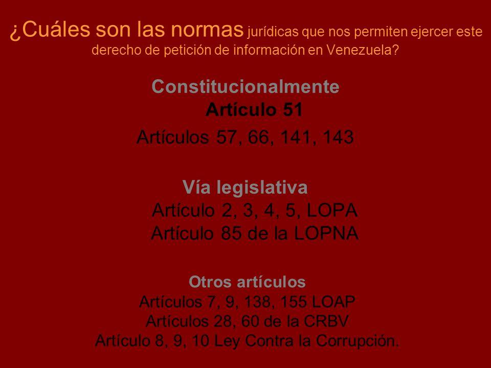 ¿Cuáles son las normas jurídicas que nos permiten ejercer este derecho de petición de información en Venezuela? Constitucionalmente Artículo 51 Artícu