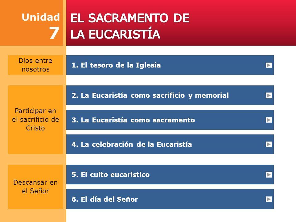 Unidad 7 Participar en el sacrificio de Cristo 3.La Eucaristía como sacramento 4.