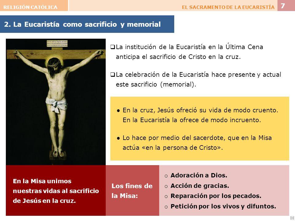 2. La Eucaristía como sacrificio y memorial RELIGIÓN CATÓLICAEL SACRAMENTO DE LA EUCARISTÍA 7 La institución de la Eucaristía en la Última Cena antici
