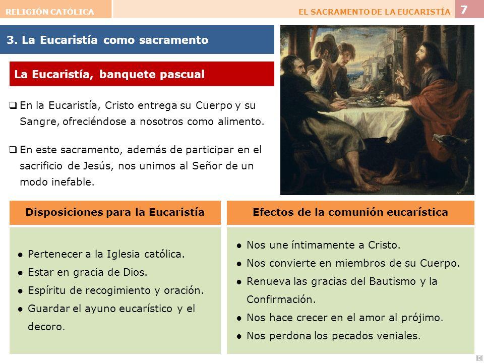 3. La Eucaristía como sacramento En la Eucaristía, Cristo entrega su Cuerpo y su Sangre, ofreciéndose a nosotros como alimento. En este sacramento, ad