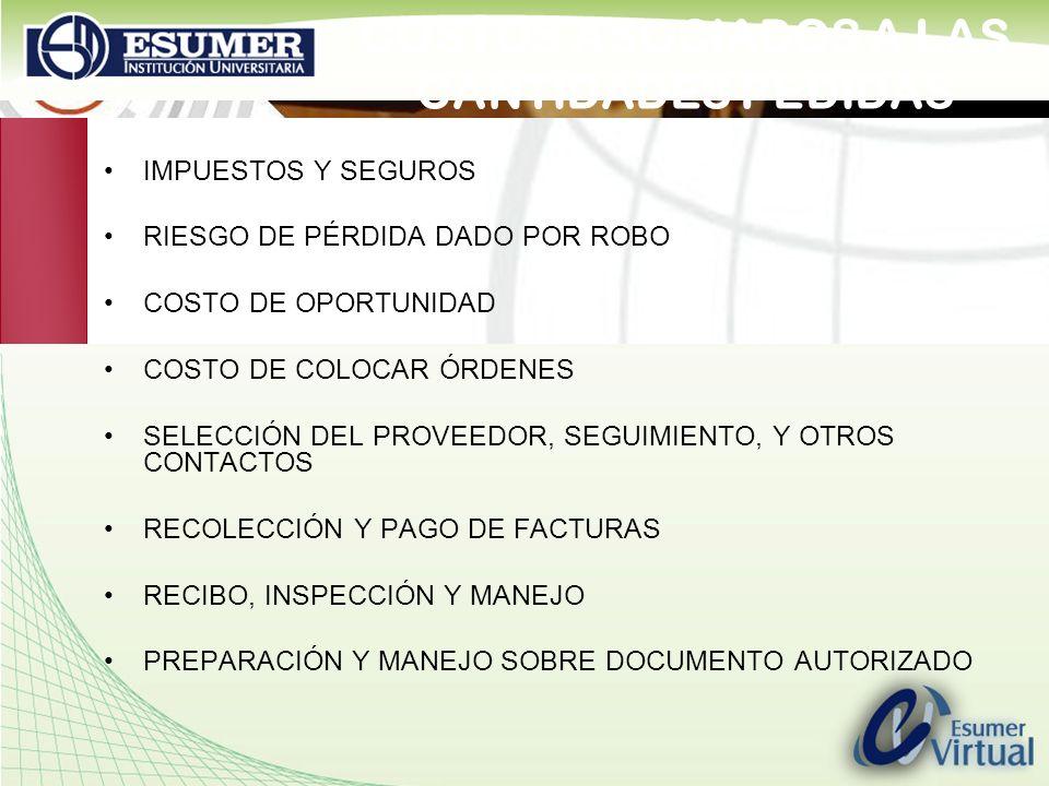 www.highlogistics.com logistics@une.net.co COSTOS ASOCIADOS A LAS CANTIDADES PEDIDAS IMPUESTOS Y SEGUROS RIESGO DE PÉRDIDA DADO POR ROBO COSTO DE OPOR
