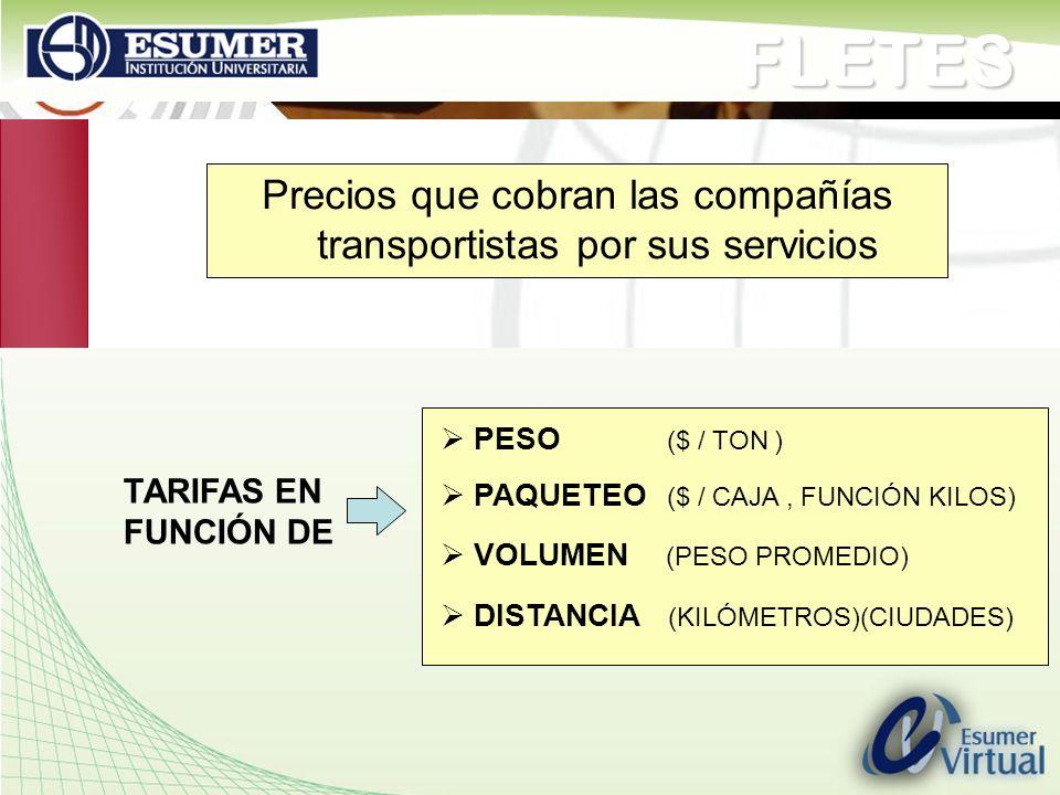 www.highlogistics.com logistics@une.net.co Precios que cobran las compañías transportistas por sus serviciosFLETES TARIFAS EN FUNCIÓN DE PESO ($ / TON