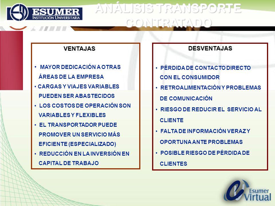 www.highlogistics.com logistics@une.net.co ANÁLISIS TRANSPORTE CONTRATADO VENTAJAS VENTAJAS MAYOR DEDICACIÓN A OTRAS ÁREAS DE LA EMPRESA CARGAS Y VIAJ