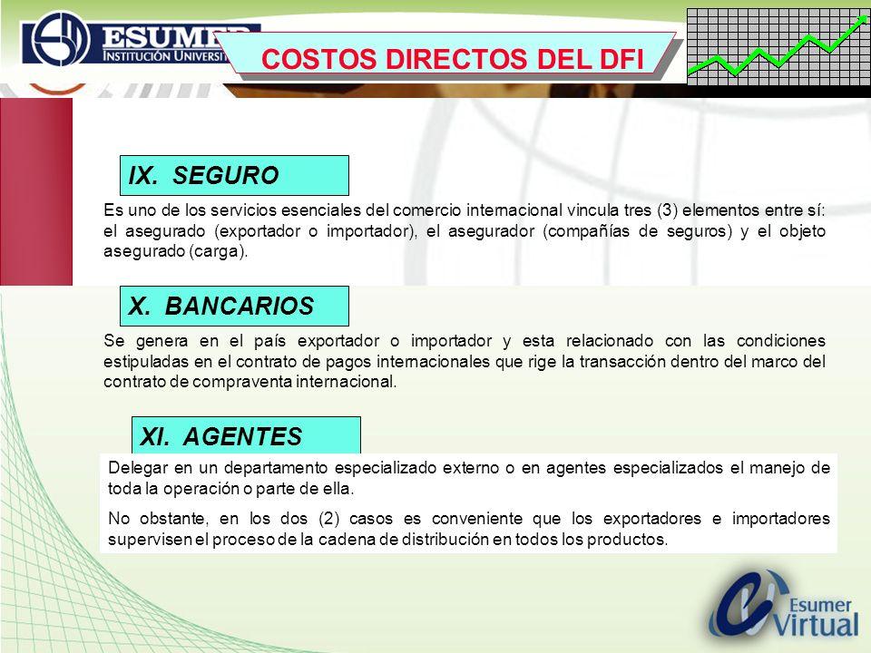 www.highlogistics.com logistics@une.net.co IX. SEGURO Es uno de los servicios esenciales del comercio internacional vincula tres (3) elementos entre s